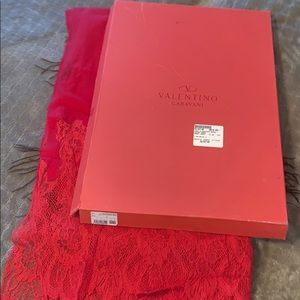 Valentino Cashmere red with lace shawl